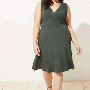 New LOFT Womans Plus Faux Wrap Flare Dress Green